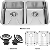 VIGO 29 inch Undermount 50/50 Double Bowl 16 Gauge Stainless Steel Kitchen Sink with Two Grids and Two Strainers