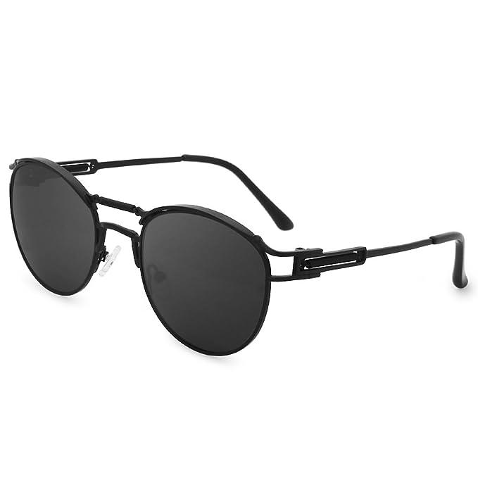 68165ae00ce Galulas Double Bridge Round Steampunk Glasses John Lennon Style Vintage  Retro Polarized Aviator Sunglasses for Men