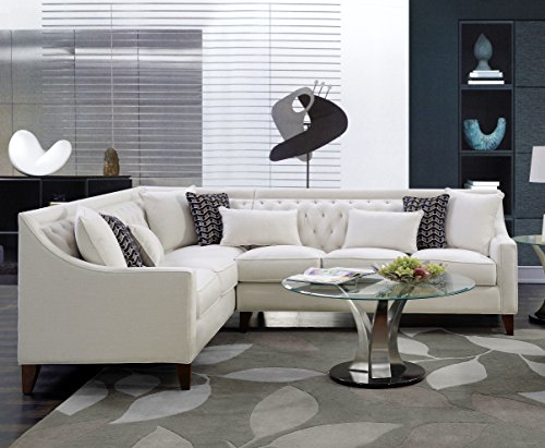 Iconic Home FSA2673-AN Chic Home Aberdeen Linen Tufted Down Mix Modern Contemporary Left Facing Sectional Sofa, Cream