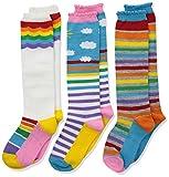 Jefferies Socks Girls' Little Colorful Rainbow Knee High Socks 3 Pair Pack, X-Small