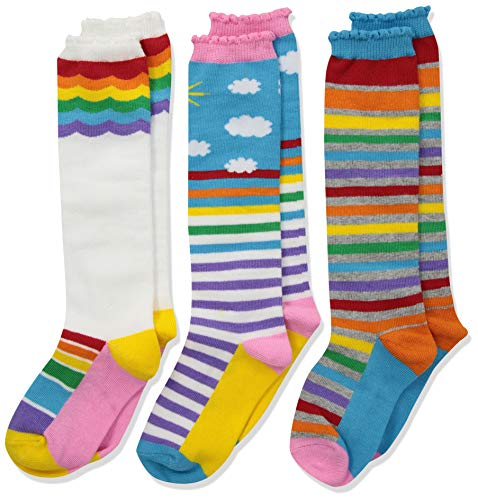 Jefferies Socks Girls' Little Colorful Rainbow Knee High Socks 3 Pair Pack, X-Small