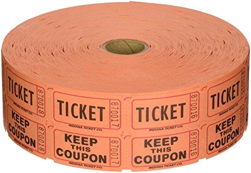 Raffle Tickets 2000 per Roll 50/50: Orange