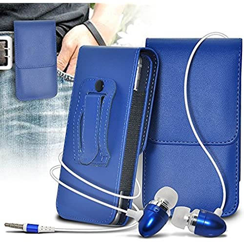 ONX3 (Blue) Samsung Galaxy S8 Case Premium Vertical Faux Leather Belt Holster Pouch Cover, Includes Stereo Aluminium Earphones Sales