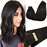 Googoo Tape in Hair Extesnsions Ombre Color Real Virgin Hair Extensions Seamless Straight Tape Hair Extensions 20pcs 50g 16 Inch Natural Black