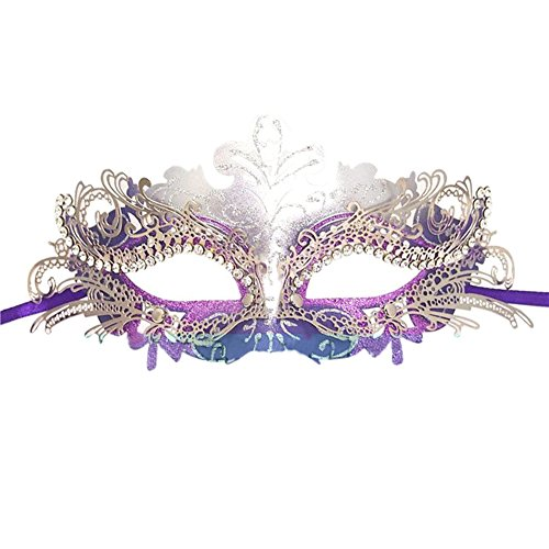 Fellibay Girls Masquerade Mask Venetian Filigree Mask Laser Cut Metal Masquerade for Halloween Costume Party -