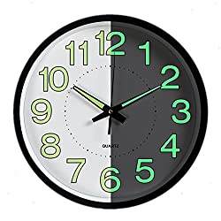 Foxtop Silent Non Ticking Wall Clock Battery Operated with Luminous Function 12 inch for Bedroom Kitchen Indoor Home