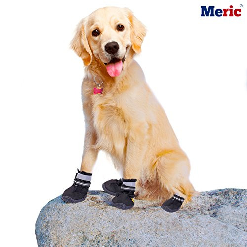 Dog Shoes - Comfortable Warm Paw Protectors - Wear and Bite-Resistant - Sturdy and Durable Sole, Water-Resistant boots - Perfect Anti Slip Booties for Medium to Large Dogs Dog Puppy Booties