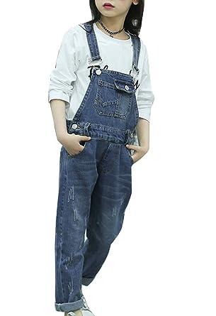 doux et léger tout à fait stylé vaste sélection Runyue Fille Salopette Jeans Combinaison avec Bretelles Réglables Denim  Jumpsuit 6-8-10-14 Ans 6-8-10-14 Ans