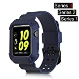 Apple Watch Band 42mm, BKING-BOX All-in-one Rugged Armor Protective Case with Strap Bands for Apple Watch Series 3, Series 2, Series 1 all editions (42mm, Navy Blue)