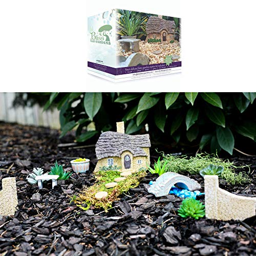 Bliss Fairy Gardens Magical Starter Kit for Her | Indoor or Outdoor (Weather Resistant) | Irresistible Hand-Crafted English Cottage 11 Piece Accessory Collection