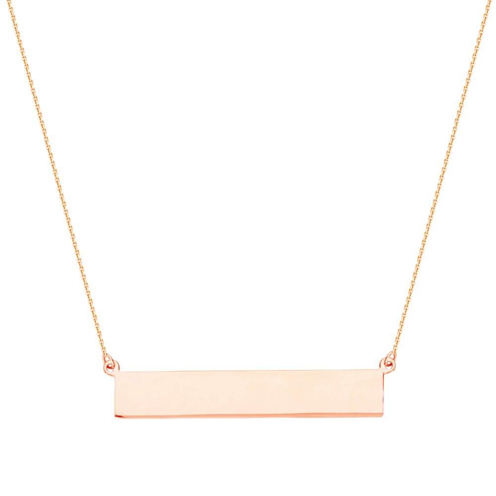 14kt Rose Gold Rectangular Bar Engravable Disc Necklace adjustable