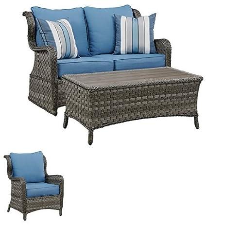 Ashley Furniture Signature Design   Abbots Court 4 Piece Outdoor Set    Loveseat Glider With