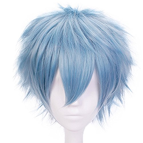 Anogol Hair Cap+Blue Anime Cosplay Wig Short Synthetic Hair Halloween Costume Hero Wigs -