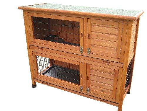 Bunny Business Doppeldecker-Stall für Kaninchen°/°Meerschweinchen, mit Ausziehfächern, 104°cm
