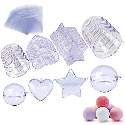 JUSLIN 20 Sets Heart Ball Star Shape DIY Bath Bomb Mold Christmas Decoration, 3 Sizes (Shape Molds)