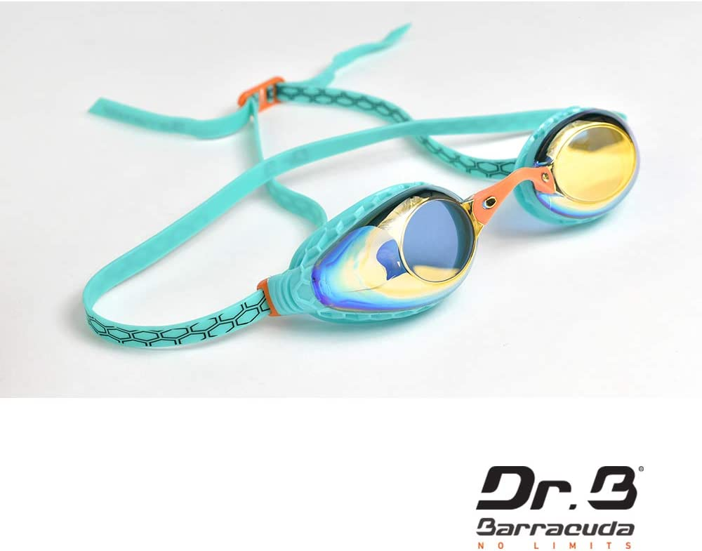 Honeycomb-Structured Gaskets Mirror Corrective Lenses Anti-Fog UV Protection Comfortable No Leak Easy Adjusting for Adults Women Ladies #93590 Barracuda Dr.B Optical Swim Goggle F935