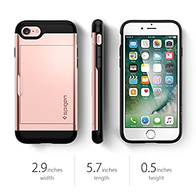 Spigen Slim Armor CS iPhone 7 Case with Slim Dual Layer Wallet Design and Card Slot Holder for iPhone 7 2016 - Rose Gold