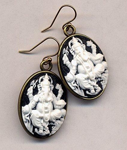 - Ganesha Earrings, Cameo Earrings, Elephant Earrings, 18 K Gold Filled Ear Wire Earrings, Buddhist earrings by AnnaArt72