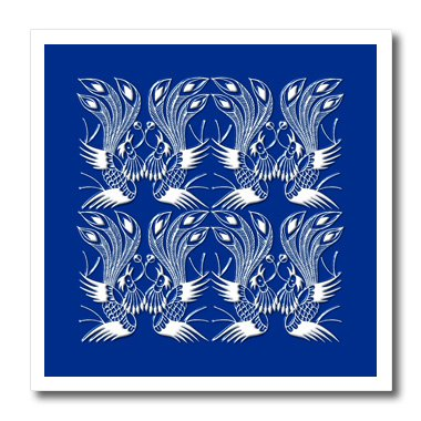 Russ Billington Chinese Folk Art Series - Exotic Lyre Bird Design in White and Blue - 6x6 Iron on Heat Transfer for White Material (ht_239174_2)