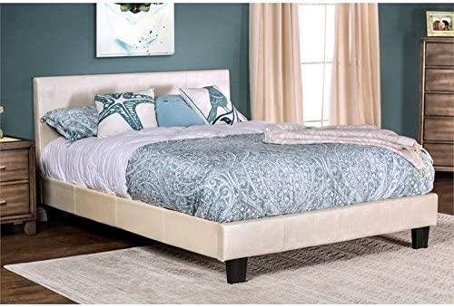 Furniture of America Nicole King Faux Leather Platform Bed in Pearl White