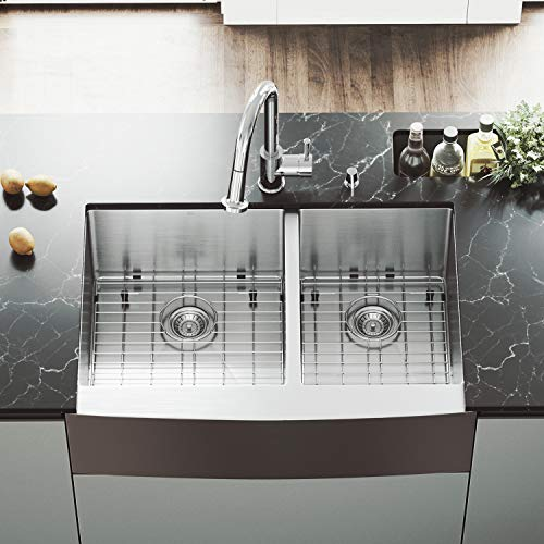 VIGO VGR3320BLK1 33 Inch Double Bowl 16 Gauge Stainless Steel Commercial Grade Farmhouse Apron Front Kitchen Sink with Two Grids and Two Strainers, Rounded Corners and SoundAbsorb Technology (Bowl Sink Vigo Double)
