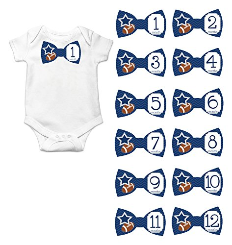 - Gift Set of 12 Bowtie Keepsake Photography Monthly Baby Stickers with Dallas Texas Cowboys Football BT017