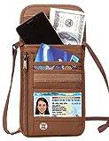 Defway Passport Holder RFID Blocking Travel Wallet Waterproof Hidden Pouch (BROWN)