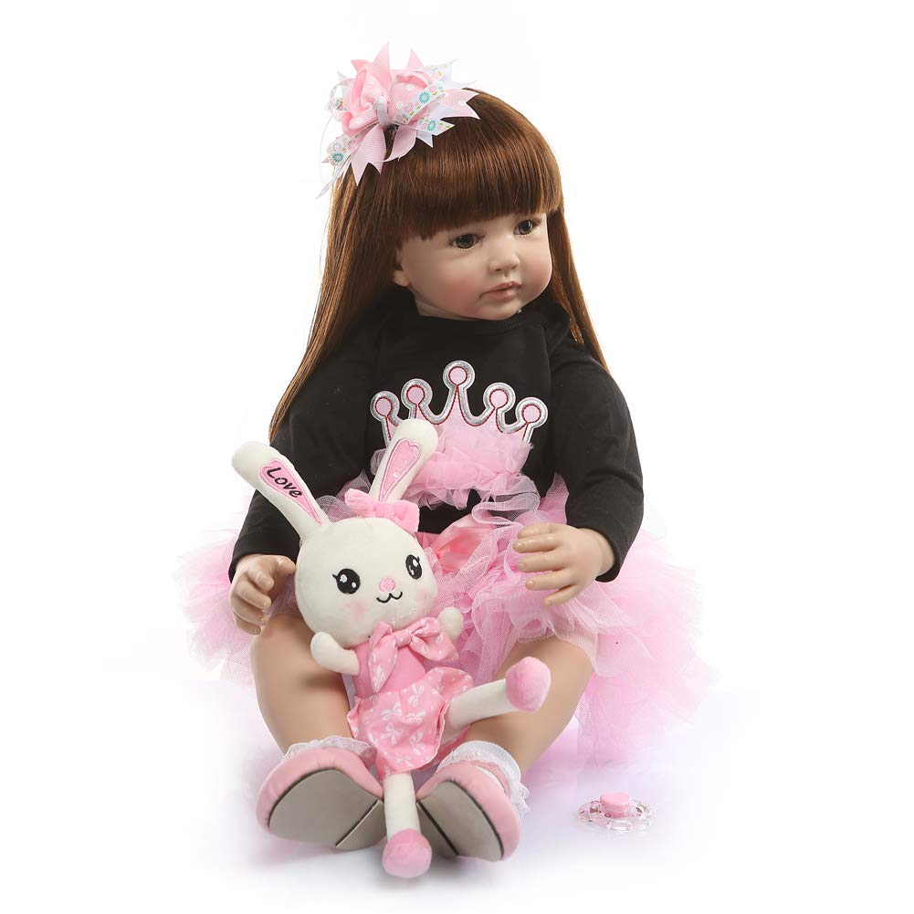 Lullaby Reborn Baby Dolls Toddler Realistic Girl 24 Inch 60cm Real Looking Baby Doll Silicone Limbs and Head Weighted Body 3-6M Bebe with Beautiful Dress