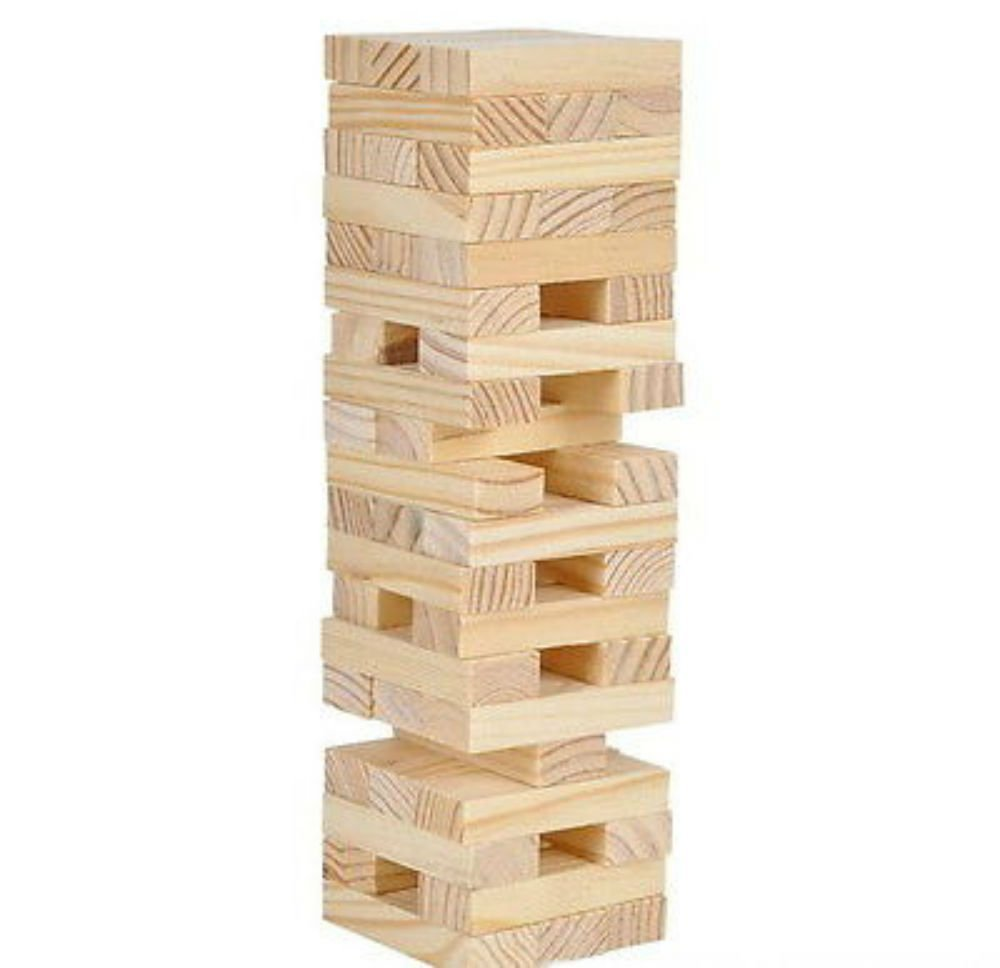 MINI WOOD TOWER STACKING BLOCKS WOODEN GAME 6'' HIGH PARTY FUN ACTIVITY FAVOR