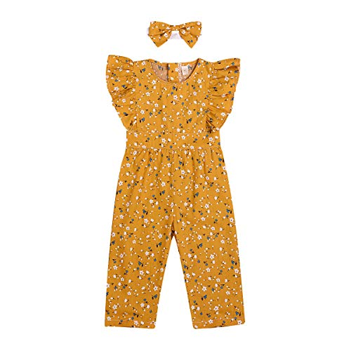 YOUNGER TREE Baby Girls Floral Jumpsuit Overalls Sleeveless Bodysuit Romper Summer Pants Clothes Set (6-12 Months, Yellow)