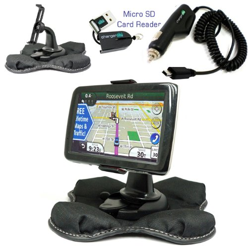 Chargercity Beanbag Friction Mount Kit for Garmin Nuvi 1450 1450T 1470 1470T 1490 1490T GPS Bracket Cradle, Car Charger Vehicle Power Cable & Portable Garmin Dashboard Friction Mount -