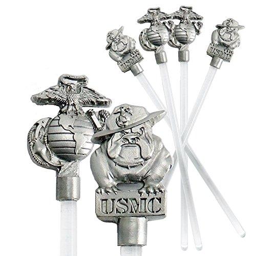 (Indiana Metal Craft US Marine Corps EGA & Bulldog Beverage Stir Stick Pewter Emblem. Set of 4. Made in USA.)