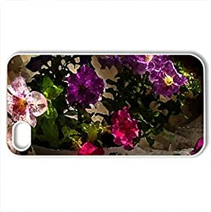 Still life - Petunia - Case Cover for iPhone 4 and 4s (Flowers Series, Watercolor style, White)