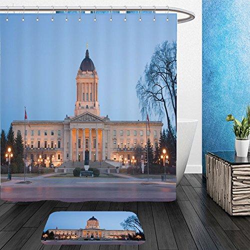 Vanfan Bathroom 2Suits 1 Shower Curtains & 1 Floor Mats manitoba legislative building at dusk in winnipeg manitoba canada 200787335 From Bath (Halloween Accessories Winnipeg)