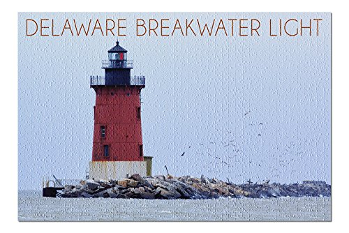 Lewes, Delaware - Cape Henlopen Lighthouse Day (20x30 Premium 1000 Piece Jigsaw Puzzle, Made in USA!)