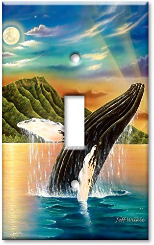Art Plates - Single Gang Toggle OVERSIZE Switch Plate/OVER SIZE Wall Plate - Humpback Whales