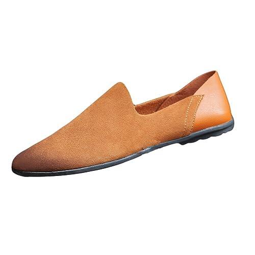 SK Stutio Mocasines de Cuero para Hombre Negocio Casual Planos Loafers Slip On Moda Zapatos de Conducción Zapatillas: Amazon.es: Zapatos y complementos