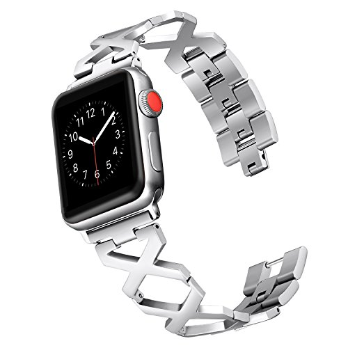 Secbolt Bands for Apple Watch Band 38mm, Silver without Rhinestones, X Pattern Stainless Steel Replacement Wristband Sport Strap for Apple Watch Series 3, Series 2, Series 1 - 082 Diamond