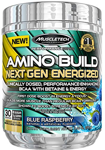 MuscleTech Amino Build Next Gen Energy Supplement, Formulated with BCAA Amino Acids, Betaine, Vitamin B12 & B6 for Muscle Strength & Endurance, Blue Raspberry, 30 Servings NET WT. 10.13 (287g) (Best Games For Next Gen)