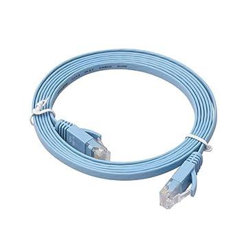Kobwa Cable de Ethernet CAT6 Cable de red plana con clips de cable, Cat 6