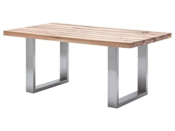 Möbelando Esszimmertisch Holztisch Esstisch Küchentisch Tisch Massiv Küche  Castello I (Wildeiche, 180x100 Cm)