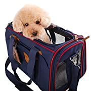 Amazon Lightning Deal 85% claimed: WOpet® Soft Sided Pet Carrier Comfortable Carrier Adjustable and Foldable Airline Approved Pet Travel Carrier