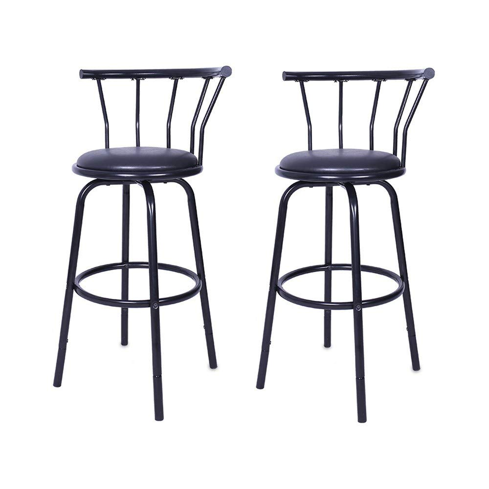 vmree Modern Outdoor Swivel Bar Stools Set of 2, Barstools Counter Height Pub Leather Chairs, Round Padded Seat with Footrest & Back Bistro Kitchen Patio Furniture (Black, 38.6 x 14.8 x 14.8 inch) by vmree