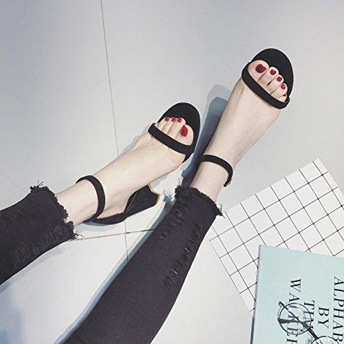 Heels Avec Fashion SHOESHAOGE Boucle unie Avec Sandales Couleur Girl High Les Les Élèves prqqXwv0