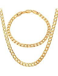 "U7 Jewelry ""18K"" Stamp Gold Plated Bracelet Cuban Curb Chain Necklace For Men, 18-26"""