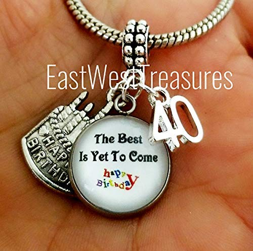 EWT Happy Number 40 40th Birthday Cake Jewelry Gift For Women Her Charm Pendant