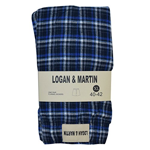 's 100% Cotton Flannel Boxers in XL or XXL (XL (40-42), Royal/Blue) (Blue Flannel Boxer)