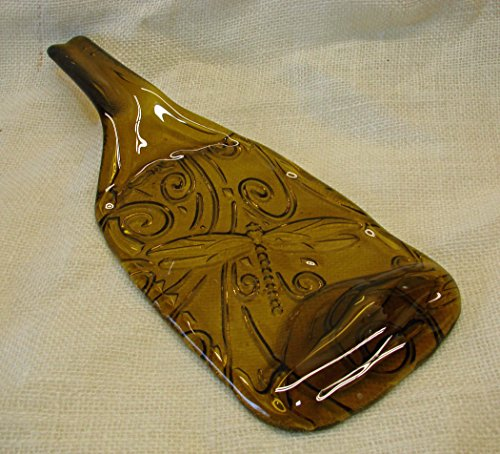 Dragonfly Embossed Yellow Wine Bottle with Raised Neck UpCycled as Cheese Platter Serving Tray