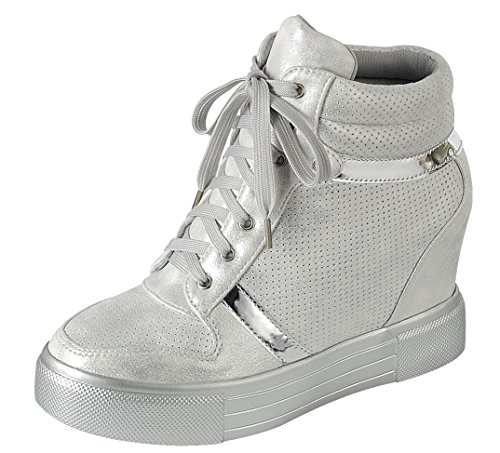 Cambridge Selezionare Donna Corta Punta Rotonda Allacciata Piattaforma Traforata Moda Sneaker Zeppa Bianca