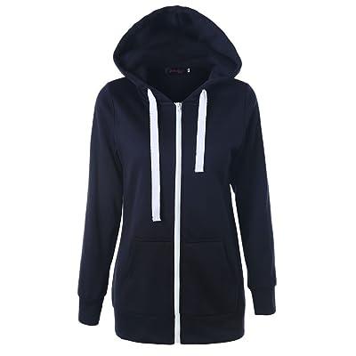 WOMOWO Women Fashion Slim Fit Long Sleeve Lightweight Zip-up Hoodie with Kanga Pocket (Small, Navy) at Women's Coats Shop